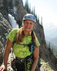 Lynn and a super view on Takakkaw Falls rock climb- Copy_1